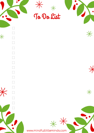 A Mindful Little Christmas Printable planner set To do List